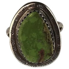 Navajo Sterling and Gaspeite Ring by Richard Kee