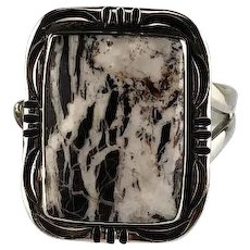 Square Cut White Buffalo Ring