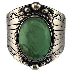 Vintage Sterling and Carico Lake Turquoise Ring