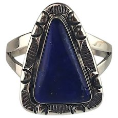 Sterling and Lapis Ring by Navajo Artist Richard Kee