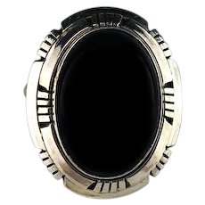 Sterling and Onyx Ring by Navajo Artist Scott Skeets