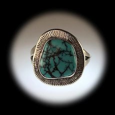Sterling and Turquoise Ring by Navajo Artist Anthony  Kee