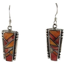 Native American Tri-Color Spiny Oyster Earrings