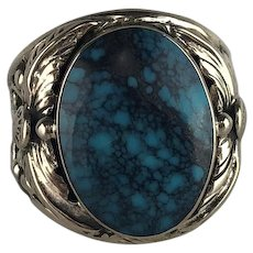 Navajo Sterling and Turquoise Men's Ring by Arnold Maloney