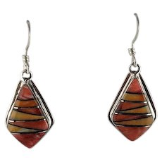 Sterling and Spiny Oyster Earrings by Melissa Yazzie