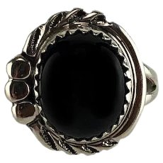 Navajo Sterling and Onyx Button Ring