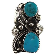 Navajo Sterling and Turquoise Ring by Leon Martinez
