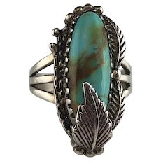 Vintage Carol Felley Sterling and Turquoise Ring