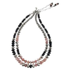 White Fox Creation: Peruvian Pink Opals and Black Onyx Necklace Set