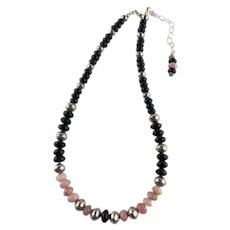 White Fox Creation: Peruvian Pink Opals and Black Onyx Necklace