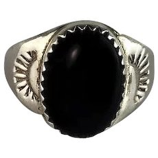 Navajo Cast Sterling and Onyx Ring