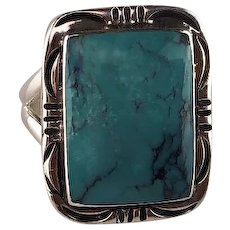 Sterling and Turquoise Ring by Navajo Artist Melvin Thompson