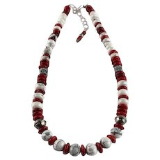 White Fox Creation: Chunky Coral and Howlite Necklace
