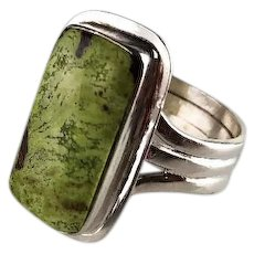 Sterling and Gaspeite Ring by Melvin Thompson