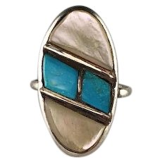 Old Rolled Turquoise and Mother of Pearl Ring