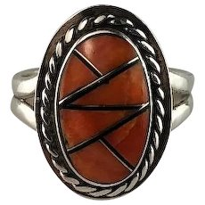 Navajo Inlay Sterling and Spiny Oyster Ring