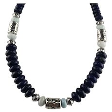 White Fox Creation: Chunky Lapis and Lamar Necklace