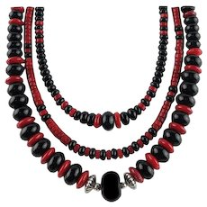 White Fox Creation: Triple Onyx and Coral Necklace