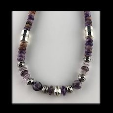 White Fox Creation: Dazzling Amethyst and Charoite Necklace