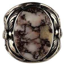 Navajo Sterling and Wild Horse Magnesite Men's Ring by Arnold Maloney