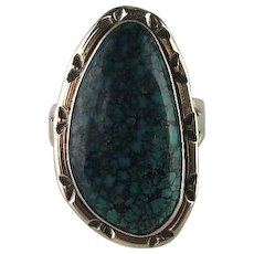Large Navajo Sterling and Turquoise Ring
