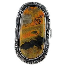 Native American Sterling and Bumble Bee Jasper Ring