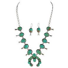 Sterling and Turquoise Squash Blossom