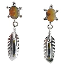 Sterling and Bumble Bee Jasper Turtle Earrings
