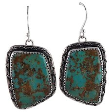 Extra Large Stone Royston Turquoise Earrings
