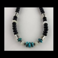 White Fox Creation: Turquoise, Moonstone and Onyx Necklace