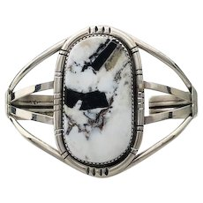 Navajo Sterling and White Buffalo Bracelet