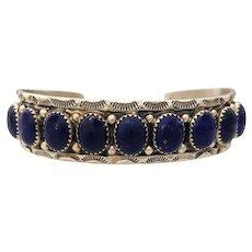 Navajo Sterling and 9 Stone Lapis Bracelet
