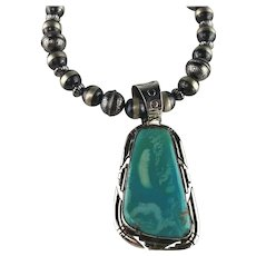 Navajo Sterling and Sleeping Beauty Turquoise Necklace