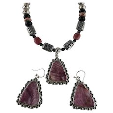 White Fox Creation: Rhodochrosite and Onyx Necklace Set