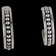 Studded Sterling 3/4 Hoop Earrings