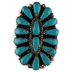 Native American Sterling and Turquoise Cluster Ring