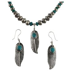 White Fox Creation: Sterling Feather Necklace and Earring Set