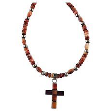 White Fox Creation: Spiny Oyster Inlay Cross Necklace
