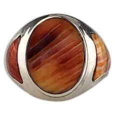 Sleek Native American Spiny Oyster Ring