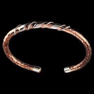 Sterling Embellished Hammered Copper Bracelet