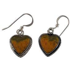 Navajo Sterling and Bumble Bee Jasper Heart Shape Earring