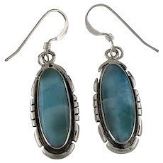 Navajo Sterling and Larimar Earrings