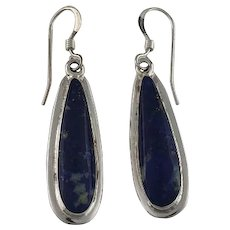 Long Slender Sterling and Lapis Earrings