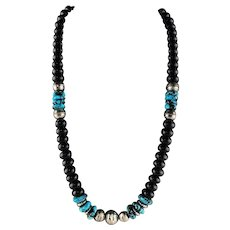 White Fox Creation: Chunky Onyx and Turquoise Necklace