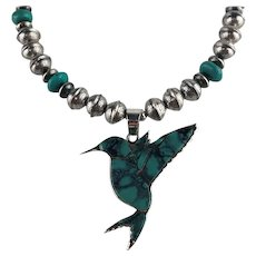 White Fox Creation: Turquoise Inlay Hummingbird on Stamped Sterling Beads