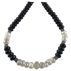 White Fox Creation: Chunky Onyx and Moonstone Necklace
