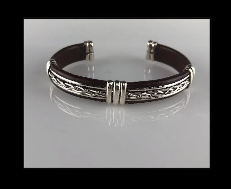 Unisex Leather And Sterling Silver Bracelet The Rose Gallery