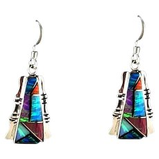 Native American Sterling and Opalite Earrings