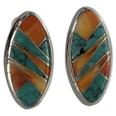 Native American Turquoise and Spiny Oyster Inlay Earrings