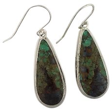Long Sterling and Royston Turquoise Earrings